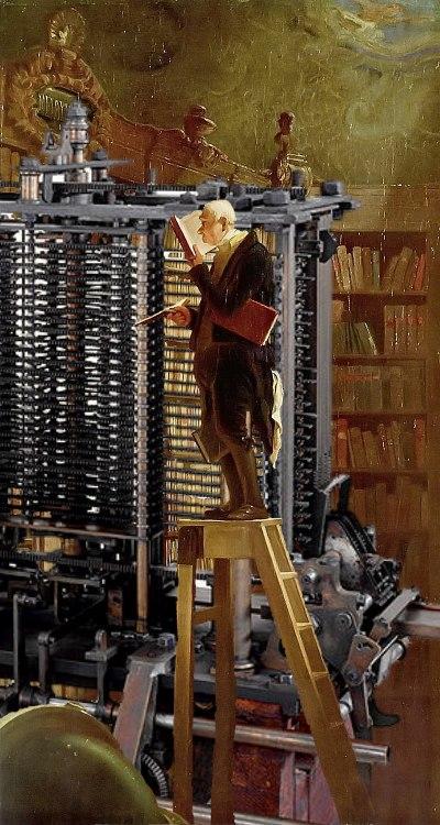 Spitzwegs Bücherwurm (1850) vor einen mechanischen, mit Dampf angetriebenen Computer, Quelle: Wikipedia, Fotomontage