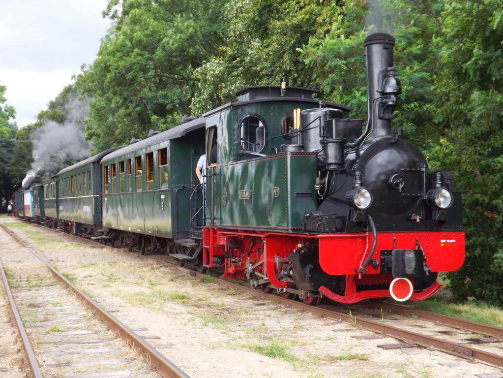 DEV Jubiläumswochenden: HERMANN angehängt an Personenzug und BIEBERLIS an der Spitze, Foto Holger Gatz