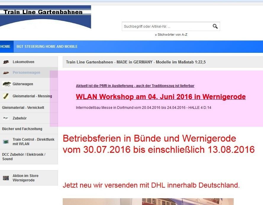 Train Line - Website 05.07.2016, 18.10 Uhr, Hervorhebung durch H. Gatz