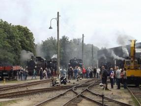 Die Loks werden zum Fototermin gruppiert - DEV, 05.08.2016, Quelle: Holger Gatz