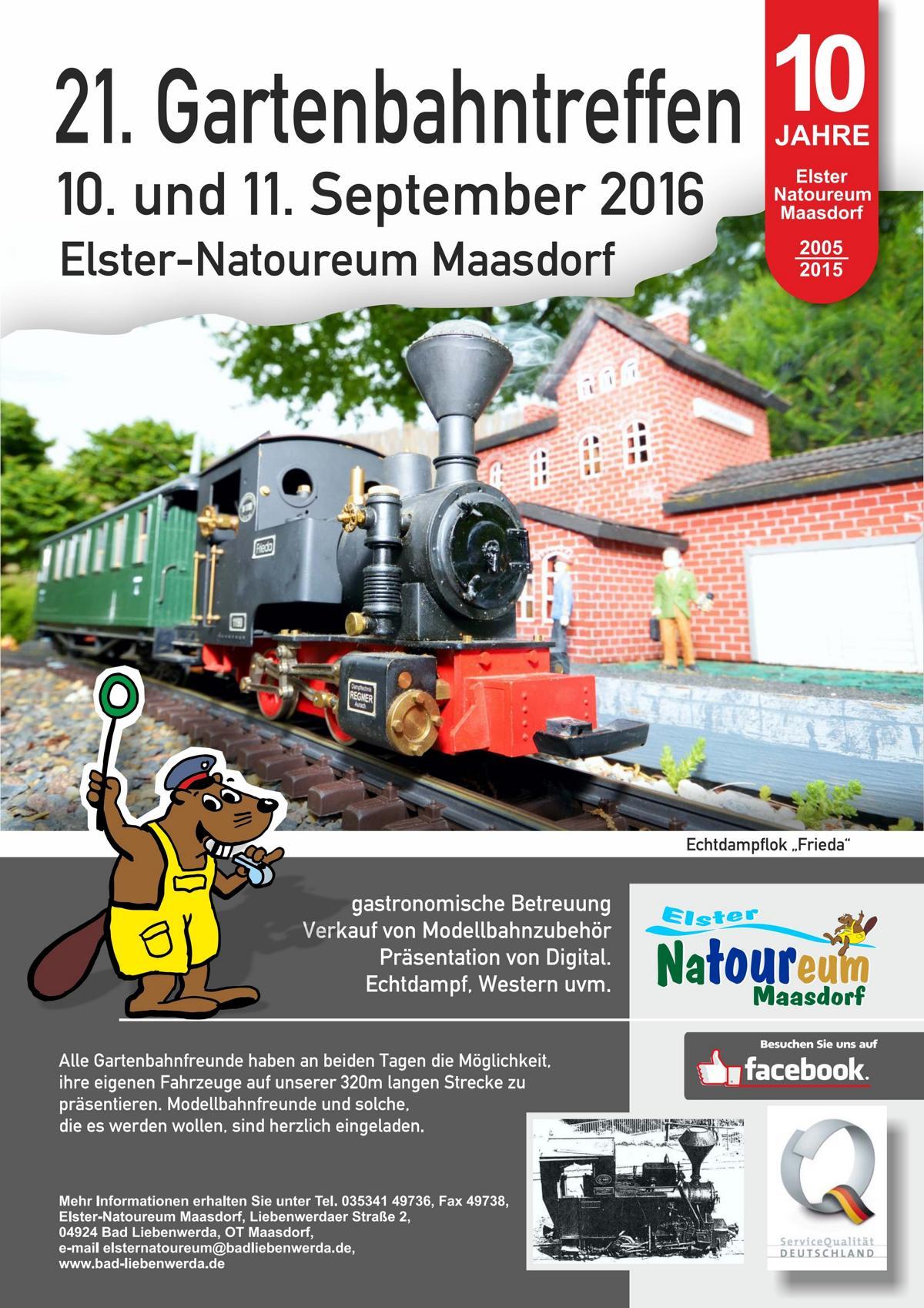 Plakat 21. Gartenbahntreffen, Maasdorf 2016