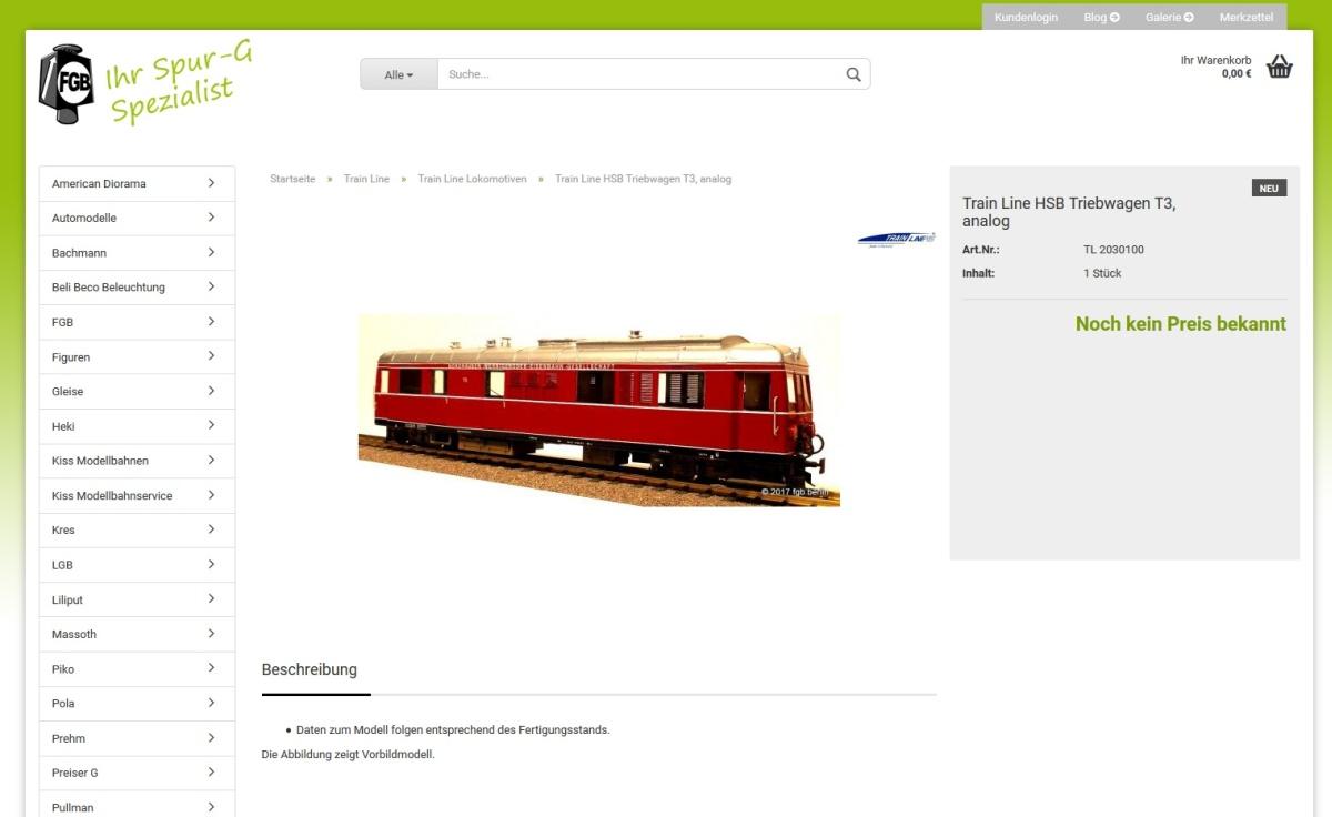 Irreführung oder Vorfreude: Die Ankündigung des NWE T3 von Trainline im Webshop von FGB Berlin, Quelle Internetseite FGB Berlin vom 14.02.2017 - 10.25 Uhr