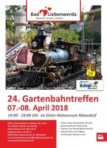 24. Gartenbahntreffen in Maasdorf vom 7. - 8.4.2018 (Quelle: Flyer Elster-Natoureum)