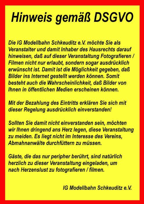 Hinweis für Besucher, Fotografen und Filmer zum 16. Großbahntreffen in Schkeuditz 2018 vom 18.06.2018, Quelle: IG Modellbahn Schkeuditz e.V.